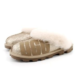UGG Shoes - UGG | Coquette Gold Sparkle Logo Slippers